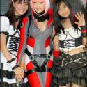 Filipina cosplay queen Alodia Gosiengfiao portrays Amanda Werner from the sci-fi anime series Blassreiter. Alodia is joined by Filipina cosplayers Hye Marie Nim and Myrtle Gail, both of whom are cosplaying different versions of Haruhi Suzumiya from the sci-fi anime series The Melancholy of Haruhi Suzumiya.